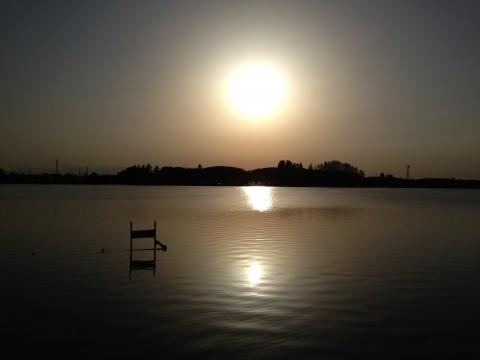 伊佐沼の夕焼け。