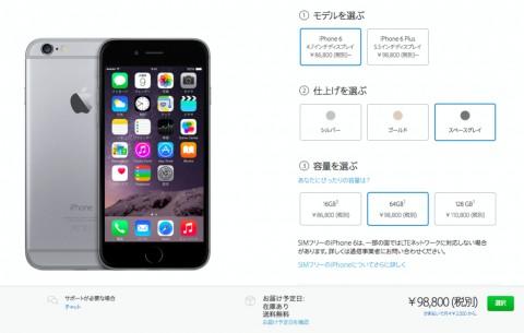 SIMフリーのiPhone6の価格