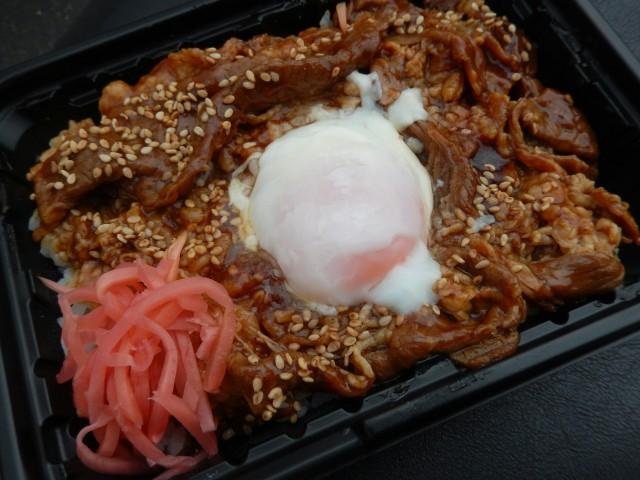 OKストアの弁当「牛カルビ焼肉丼」②