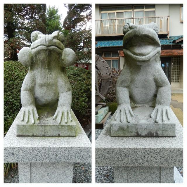 富士見市にある水宮神社の狛蛙
